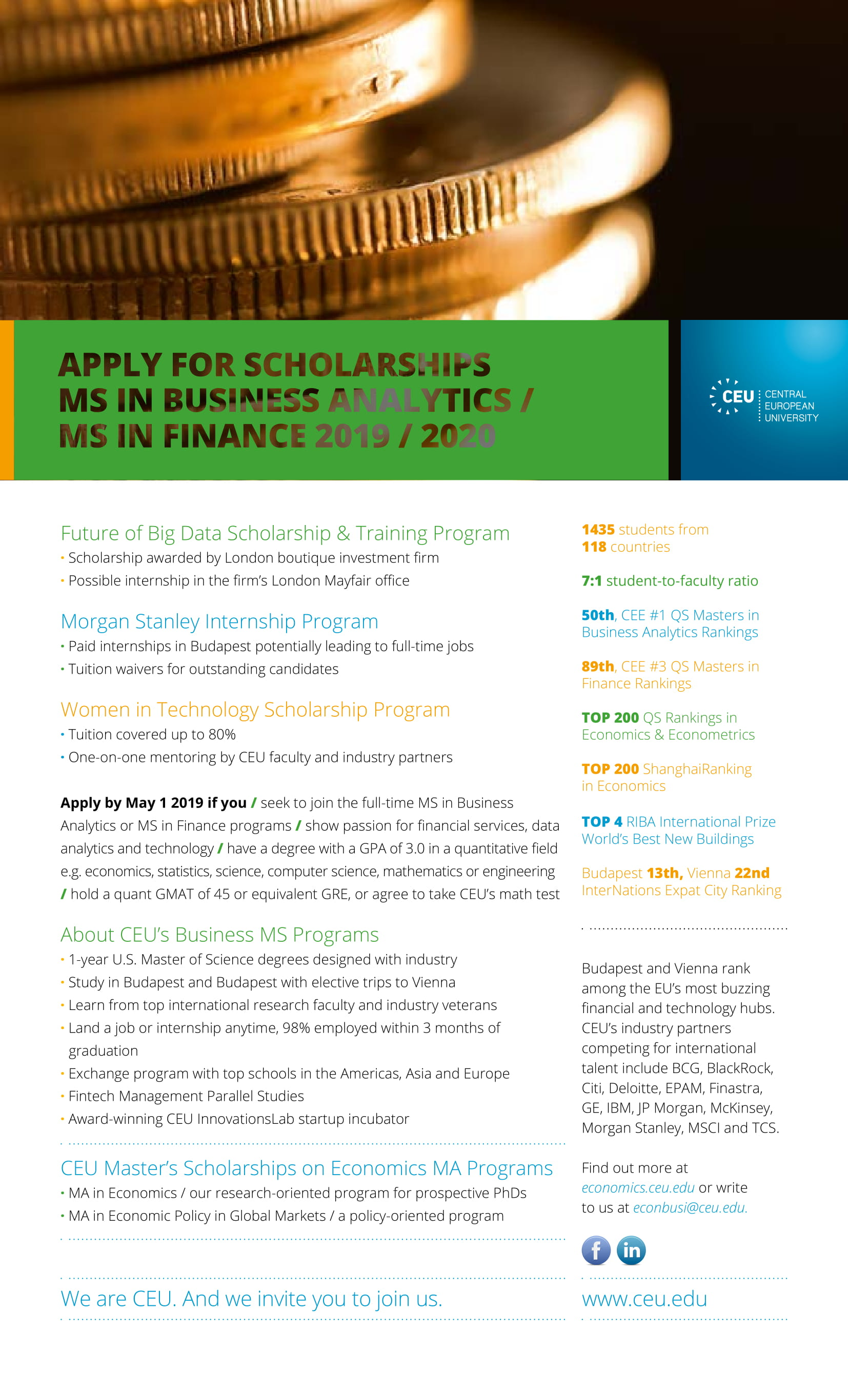 CEU MS in Business Analytics and MS in Finance Scholarship